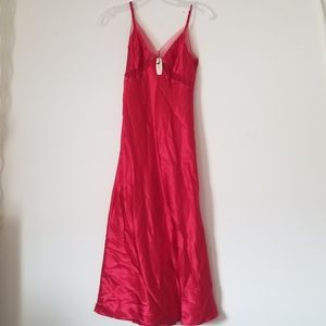 VS Very Sexy red satin gown with sheer cutouts, XS